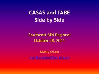 CASAS and TABE Side by Side