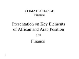 CLIMATE CHANGE Finance
