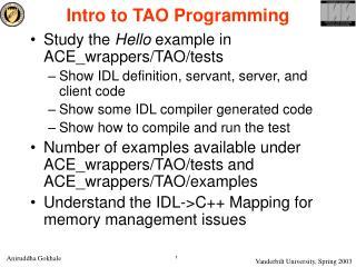 Intro to TAO Programming