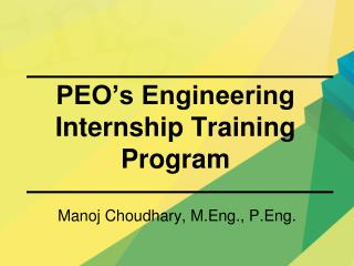 PEO s Engineering  Internship Training Program