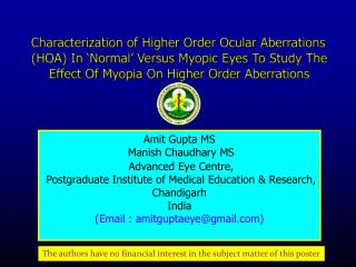 Characterization of Higher Order Ocular Aberrations HOA In  Normal  Versus Myopic Eyes To Study The Effect Of Myopia On