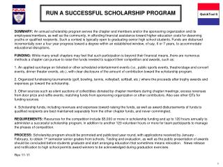 RUN A SUCCESSFUL SCHOLARSHIP PROGRAM