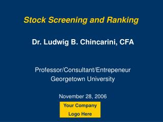 Stock Screening and Ranking