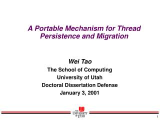 A Portable Mechanism for Thread Persistence and Migration
