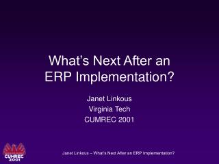 What s Next After an ERP Implementation