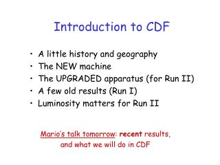Introduction to CDF