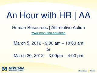 An Hour with HR  AA