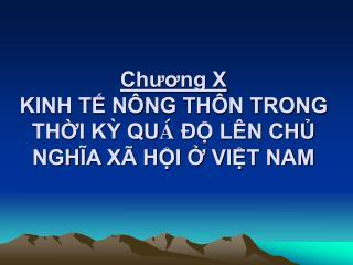 Chuong X KINH T N NG TH N TRONG THI K QU    L N CH NGHIA X  HI  VIT NAM