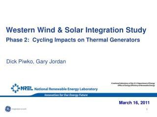Western Wind  Solar Integration Study   Phase 2:  Cycling Impacts on Thermal Generators