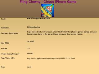 Fling Clowny - Circus iPhone Game