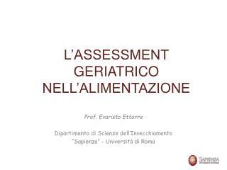 L ASSESSMENT GERIATRICO NELL ALIMENTAZIONE