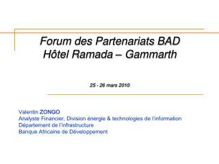 Forum des Partenariats BAD H tel Ramada   Gammarth    25 - 26 mars 2010