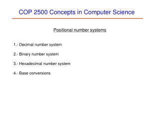 COP 2500 Concepts in Computer Science