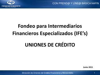 Fondeo para Intermediarios Financieros Especializados IFE s