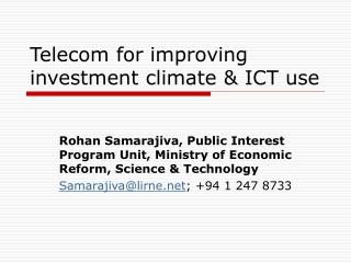 Telecom for improving investment climate  ICT use