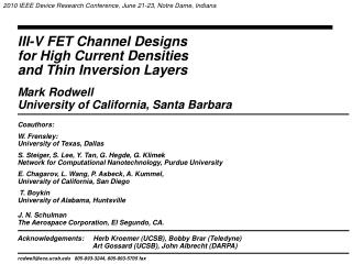 III-V FET Channel Designs  for High Current Densities  and Thin Inversion Layers