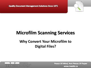 Microfilm Scanning Services:  Why Convert Your Microfilm