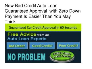 Car Loans With Bad Credit And No Money Down