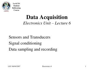 Data Acquisition  Electronics Unit   Lecture 6