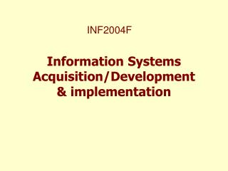 Information Systems Acquisition