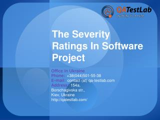 The Severity Ratings In Software Project