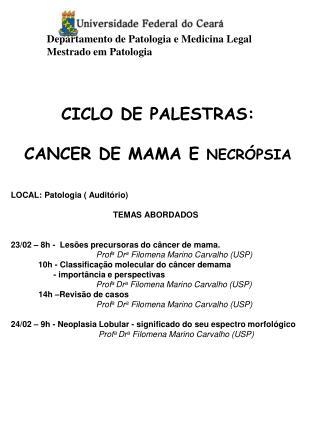CICLO DE PALESTRAS:  CANCER DE MAMA E NECR PSIA