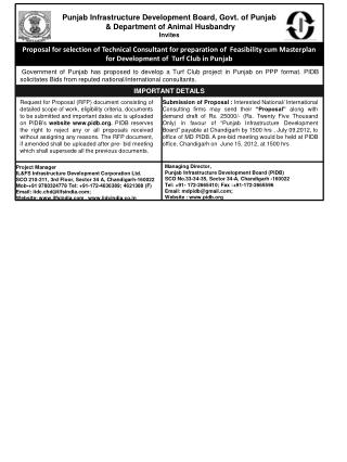 Punjab Infrastructure Development Board, Govt. of Punjab   Department of Animal Husbandry Invites