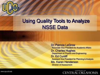 Using Quality Tools to Analyze NSSE Data