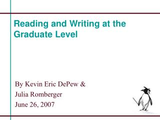 Reading and Writing at the Graduate Level