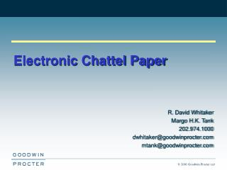 chattel paper Chattel definition: chattel paper a writing or writings that evidence a monetary obligation as well as a security interest in or a lease of specific goods.