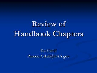 Review of Handbook Chapters