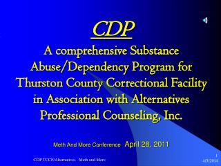 CDP  A comprehensive Substance Abuse