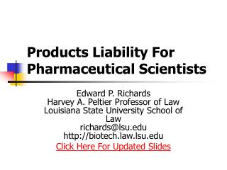 Products Liability For Pharmaceutical Scientists