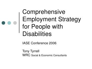Comprehensive Employment Strategy for People with Disabilities