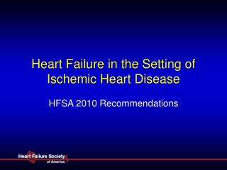 Heart Failure in the Setting of Ischemic Heart Disease