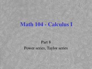 Math 104 - Calculus I