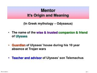 Mentor It s Origin and Meaning