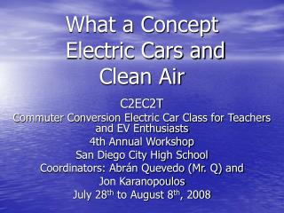What a Concept  Electric Cars and  Clean Air