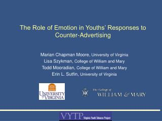 The Role of Emotion in Youths  Responses to Counter-Advertising