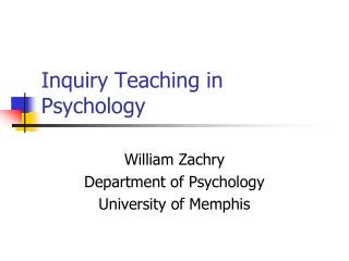 Inquiry Teaching in Psychology