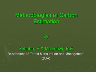 Methodologies of Carbon Estimation