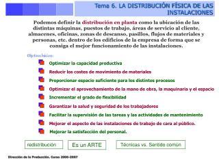 Tema 6. LA DISTRIBUCI N F SICA DE LAS INSTALACIONES