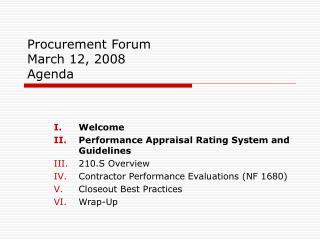 Procurement Forum  March 12, 2008 Agenda