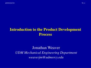 Introduction to the Product Development Process