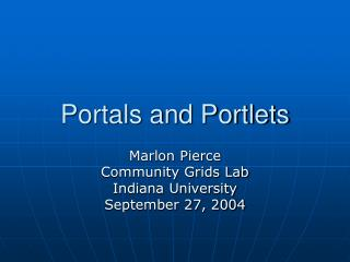 Portals and Portlets