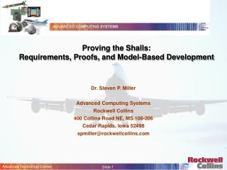 Proving the Shalls:  Requirements, Proofs, and Model-Based Development