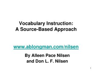 Vocabulary Instruction: A Source-Based Approach   ablongman