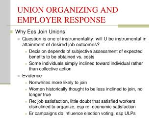 UNION ORGANIZING AND EMPLOYER RESPONSE