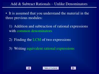 Add  Subtract Rationals   Unlike Denominators