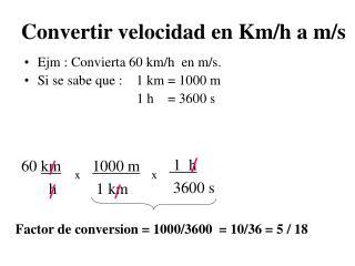 Convertir velocidad en Km
